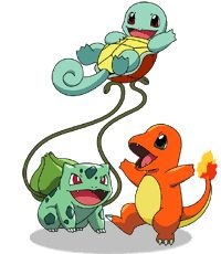 Bulbasaur, Squirtle, and Charmander.