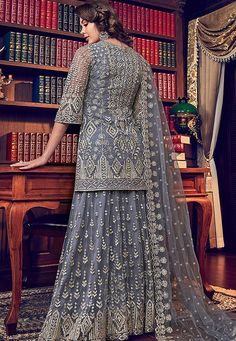 Online shopping of salwar kameez, latest salwar kameez designs, salwar suits collection online. Grab this jazzy purple designer palazzo salwar kameez for mehndi, sangeet and wedding. Gharara Pants, Lehenga Suit, Sharara Suit, Pakistani Salwar Kameez, Pakistani Suits, Shalwar Kameez, Anarkali, Kurti, Latest Salwar Kameez Designs