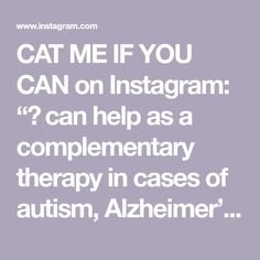 """CAT ME IF YOU CAN on Instagram: """"🐈 can help as a complementary therapy in cases of autism, Alzheimer's or ADHD. Although, scientifically, there is no research to support…"""" Adhd, Research, Autism, Therapy, Cases, Canning, Instagram, Search, Healing"""