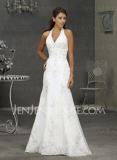 Wedding Dresses - $183.49 - Charming A-Line/Princess Halter Chapel Train Satin  Tulle Wedding Dress with Lace  Beadwork (002000297) http://jenjenhouse.com/A-line-Princess-Halter-Chapel-Train-Satin-Tulle-Wedding-Dress-With-Lace-Beadwork-(002000297)-g297
