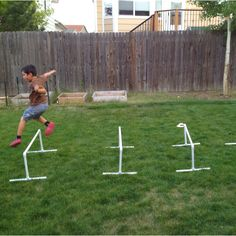 Make hurdles out of PVC pipe. Fun project for the family and great exercise for the kids!
