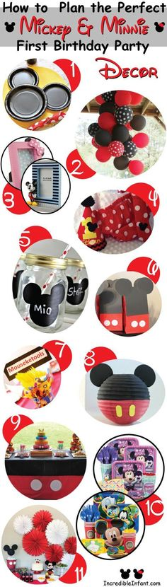 Mickey or Minnie Mouse Party. Easy centerpiece for a Minnie party. Mickey First Birthday, Mickey Mouse Clubhouse Birthday, Mickey Mouse Parties, Birthday Fun, First Birthday Parties, Birthday Party Decorations, First Birthdays, Birthday Ideas, Graduation Parties