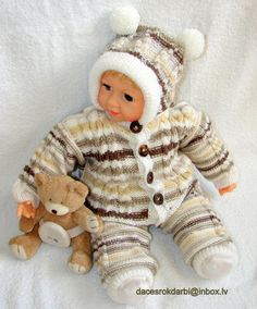 Handmade Knit Sweater / Cardigan Pants Hat Set by Dachuks on Etsy, $60.00