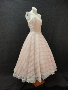 50s Dress //  Vintage 1950s Light Pink and by RobinandWrenVintage, $225.00