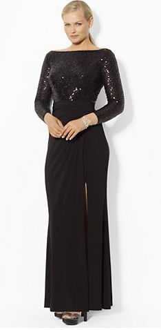 Formal Plus Size Evening Gown | Black Long Sleeve Evening Dress ...