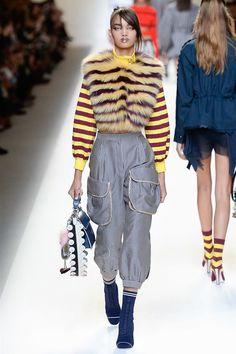 Fendi Spring 2017 Ready-to-Wear Fashion Show --- love the mix of stripes.