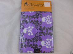 "Halloween Tablecloth Vinyl Flannel Backed 60"" x 84"" Skulls Purple Black & White #Elrene"