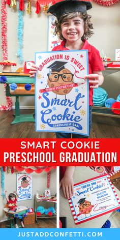 This smart cookie preschool graduation theme is so much fun! Perfect for both class ceremonies or individual celebrations. I've created a huge pack of party printable decorations to make planning your party a breeze. From posters and signs, to gift tags and graduation certificates...I've got you covered! Everything is available in my Just Add Confetti Etsy shop. What a sweet theme for kindergarten graduation too. Head to justaddconfetti.com for more simple graduation and end of the year ideas!