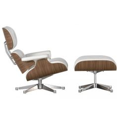 White leather Eames Lounge chair and Ottoman with walnut frame