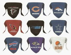 NFL dog bandana decorated with official team primary logo.  Dog bandana features a sewn in loop to slide over dog collar and is constructed in micro mesh polyester.   Available in Small and Large sizes. Both sizes are the same $12.98 each plus shipping
