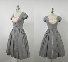 50s Dirndl Dress / Corseted Milk Maid Dress