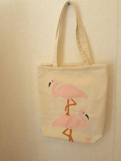 Flamingo bez çanta, doğal keten kumaşa keçe aplike... Felt aplique to a cotton fabric. You can find on www.zet.com