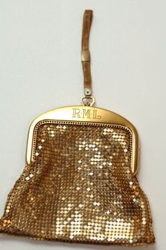 Vintage USA Whiting & Davis Gold Mesh Evening Wristlet Handbag Purse * Monogram $55