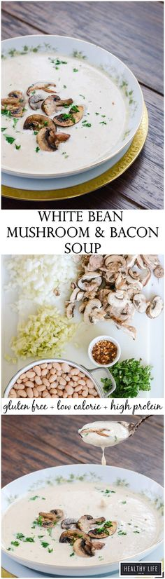 White Bean Mushroom Bacon Soup is creamy, spicy, rustic soup that is healthy, gluten free and loaded with fiber and protein.  Simple and quick to prepare with a robust flavor that is so satisfying on a cold day. Perfect alone or a first course during the holidays.- A Healthy Life For Me
