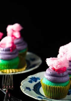 Cotton Candy Cupcakes are a bright colourful carnival treat -- homemade!