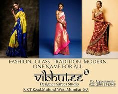 Vibhutee Designer Sarees Studio Mulund's Finest Destination For Exclusive Sarees Book your Visits At & experience Exclusive Handloom Collection by Finest Weavers Across India. Georgette Sarees, Silk Sarees, Ethnic Sarees, Prom Dresses, Formal Dresses, Designer Sarees, Hand Weaving, Shop Now