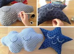 diy-cushion-cloud und starFinden Sie alle Starstoffe bei www. Baby Couture, Couture Sewing, Baby Shower Deco, Diy Bebe, Baby Sewing Projects, Pillow Tutorial, Baby Pillows, Fur Pillow, Creation Couture