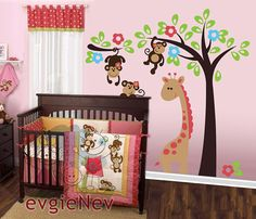 Giraffe with Monkeys Wall Decals is Removable Nursery Sticker is handmade using Top-Quality Matte Vinyl. Perfect to decorate and add your personal touch