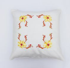 Cushion coverFlowers embroidered white linen by AnHoaEmbroidery