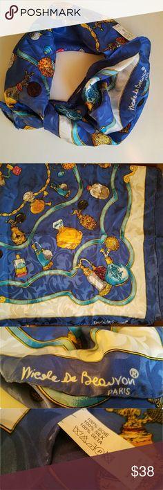 Nicole de Beauvoir Paris Silk Scarf Designer Nicole de Beauvoir Georgeous Silk damask scarf with perfume bottles print. Dimensions: 33x33 inches. Excellent condition Nicole de Beauvoir  Accessories Scarves & Wraps