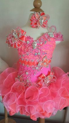 Hot pink and coral full glitz pageant dress made to order. Hot pink and coral full glitz pageant dress made to order. Pagent Dresses For Kids, Pageant Dresses For Women, Toddler Pageant Dresses, Glitz Pageant Dresses, Pageant Wear, Straps Prom Dresses, Little Girl Dresses, Girls Dresses, Blue Chiffon Dresses