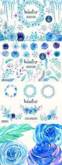 Watercolor Clipart Winter. Wedding Card Templates