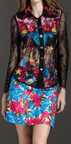 Printed Lace Shirt & Mini Skirt Set