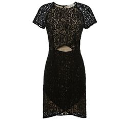 Sea Pizval Lace Wrap-Effect Dress (£285) ❤ liked on Polyvore featuring dresses, sea, new york, lace cut out dress, wrap dress, short sleeve dress and short sleeve lace dress
