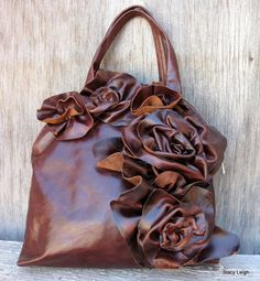 Brown Leather Bowler Bag with Raw Edge Roses. I would dearly love to afford this one!
