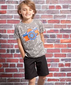Take a look at this Gray Camera Hunter Tee & Shorts - Infant, Toddler & Boys by Jelly the Pug on #zulily today!