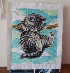 Kitten cross stitch free embroidery