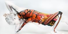 Grasshopper ~ Incredible Body Paintings By Gesine Marwedel