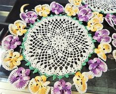 c1940s Crochet PANSY Doilies - PURPLE & GOLD - Must See Lovely Vintage Hand Work - Set of 3