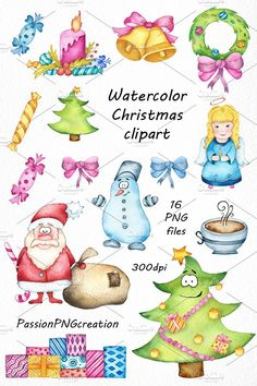 Watercolor Christmas clipart by PassionPNGcreation on @creativemarket