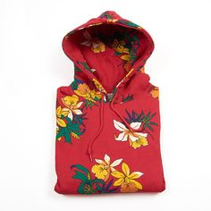 Obey Aloha Hoody Fleece, Red ($98) ❤ liked on Polyvore featuring tops, hoodies, shirts, jackets, red hoodies, red top, red hoodie, hooded sweatshirt e sweatshirts hoodies