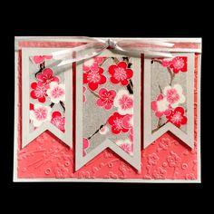 Silver Plum Blossom Banners Card #1008 1510 | Hanko Designs