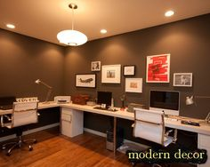 Home Office decoration ideas ... I like this setup everyone in one place ... but not to cluttered