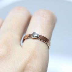 Copper Band Little Heart Ring/ Unisex Silver Ring/ by rosajuri