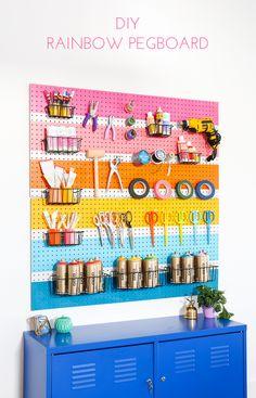 West elm - diy rainbow peg board by rachel smith. Craft Room Storage, Craft Organization, Crafts For Teens, Diy And Crafts, Diys, Craft Room Design, Space Crafts, Craft Videos, Craft Supplies