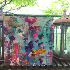 ...abstract art by sonja blaess...petit jardin..2017..40x49cm ..acryl auf Holz..