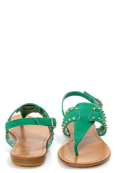 Bamboo Steno 62 Sea Green Studded Thong Sandals - $22.00