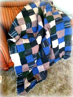 A Woolly and Warm Quilt Made With LOVE! This is a nice variation on the wool sweater blanket/quilt. No instructions though Sweater Quilt, Sweater Blanket, Do It Yourself Crafts, Big Eyes, Quilt Making, Wool Sweaters, Plaid Scarf, Pop Art, Crafty