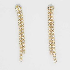 Gorgeous Gold and Crystal Dangling earrings nineties So elegant two long dangling rows of clear glass diamante that are ideal for a wedding or party