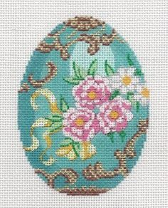 LEE Jeweled Egg Turquoise with Roses handpainted Needlepoint Canvas