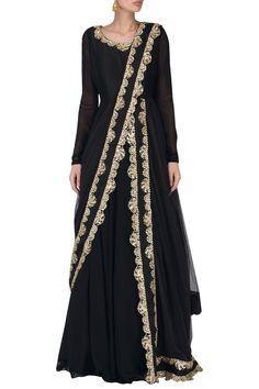 SAUMYA AND BHAVINI MODI Black Embroidered Anarkali Set. Shop now! #saumyaandbhavinimodi #ethnic #indianfashion #indiandesigners #perniaspopupshop #happyshopping