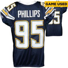 Shaun Phillips San Diego Chargers Fanatics Authentic Game-Used Blue #95 Jersey from 2007 Season - 2 - $389.99