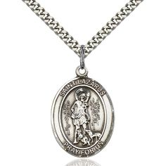 Sterling Silver St. Lazarus Pendant 1 x 3/4 inches with Heavy Curb Chain