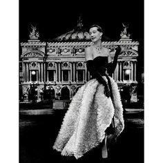 1951 - Balenciaga black mousseline & white tulle