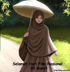 Gambar Kartun Wanita Berjilbab di Selamat hari Film Nasional 30 Maret