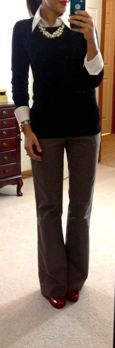 classic button-up, crew neck sweater, chunky pearls,  pants